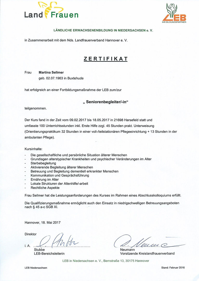 Zertifikat - Seniorenbegleiter/-in